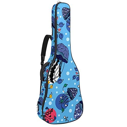 Electric Guitar Bag Padded Acoustic Guitar Gig Bag Adjustable Shoulder Strap Guitar Case Ocean Jellyfish Blue Polka Dot