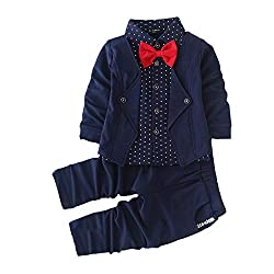 This High Quality Product is made from a 95% Cotton and 5% Spandex Combination to Ensure a Smooth, Stretchable and Comfortable Fit for your Little one Package Includes: 1 Navy Blue Blazer, T-Shirt and Red Bow Attached together as a single piece and 1...
