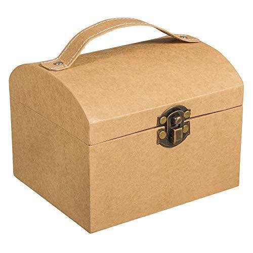 Rayher 67280521 Pappmaché Koffer, 13 x 11 x 10 cm, mit Verschluss und Henkel, FSC zertifiziert, kleiner Koffer aus Pappmaché kraft, Bastelkoffer, Utensilienkoffer, Pappmachébox