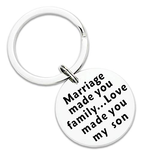Ahaeth Son in Law Keychain Gifts for Son in Law Marriage Made You Family Love Made You My Son Keychain Birthday Christmas Jewelry for Blended Family Son Wedding Gift for New Son in Law Groom to Be