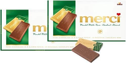 Merci Chocolate Tablets- ALMOND-MILK-NUT 2 x 100 g, Merci / Germany