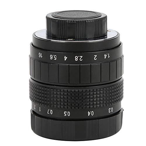 DAUERHAFT Lente de cámara de conductividad de luz efectiva Lente de Montaje C 50 mm F1.4, para Olympus M4 / 3, para Canon, para Fuji, para cámara sin Espejo Sony(Black)