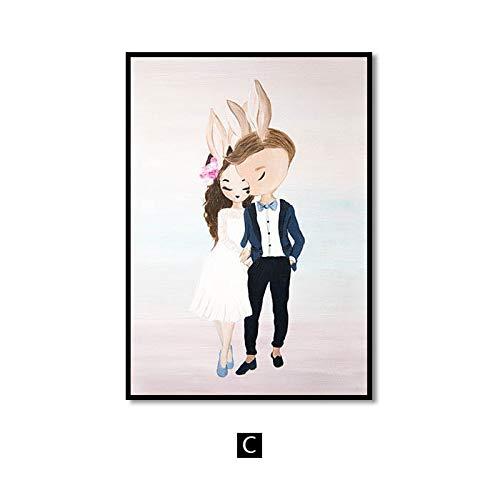 Flduod roze kwekerij meisje bloem muur canvas schilderij paard zwaan nordic posters en prints muur foto's voor de woonkamer kinderkamer50x75cm