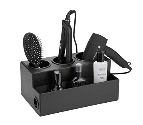 JackCubeDesign Hair Dryer Holder Hair Styling Product Care Tool Organizer Bath Supplies Accessories Tray Stand Storage Bathroom Vanity Countertop with 3 Holes(Black) – :MK154C