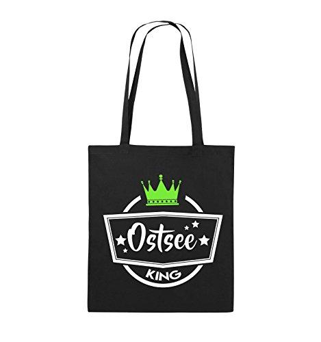Comedy Bags - Ostsee King - Krone - Jutebeutel - Lange Henkel - 38x42cm - Farbe: Schwarz/Weiss-Neongrün
