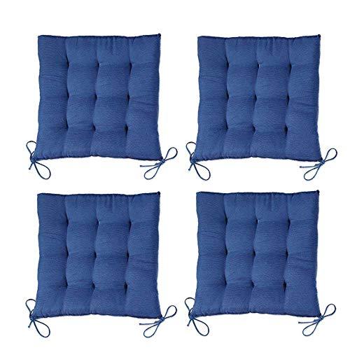 Tony Brown - Stuhlkissen Sitzkissen Stuhlauflage Sitzauflage - Uni Farben mit 4 Kordelbändern - 40x40cm (4, Blau)