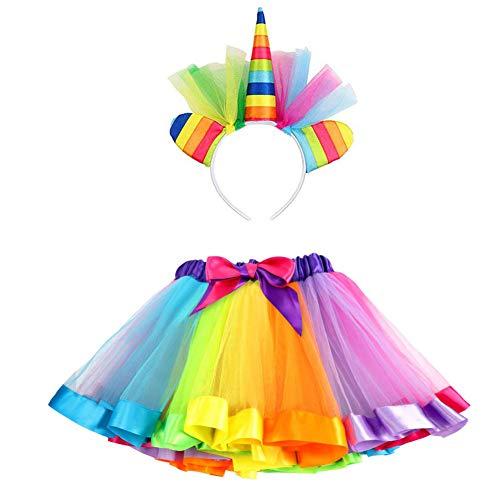 vamei TüTü Kinder Einhorn Haarreif TüTü Rock für Kleinkind Mädchen Ballett Kostüm Fotos mit Einhorn Blume Stirnband für Little Pony Dress Up Regenbogen Kostuem