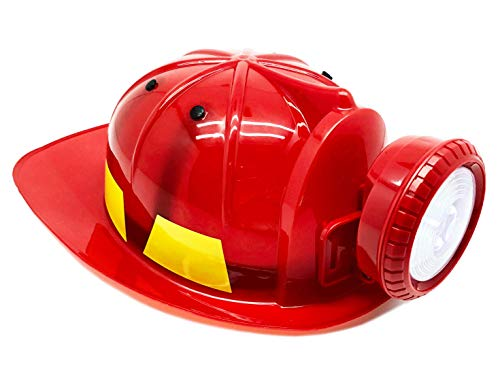 GiftExpress Deluxe LED Light Up Kids Fireman Hat; Hard Plastic Red Firefighter Rescue Hat with LED Head Light