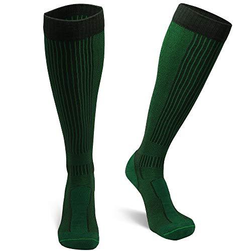 DANISH ENDURANCE Lange Merino Outdoor-Socken mit Zecken- und Mückenschutz 1 Paar (Dunkelgrün, EU 43-47)