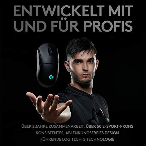 Logitech G PRO Wireless Gaming-Maus, HERO 16000 DPI Sensor, USB-Anschluss, RGB-Beleuchtung, 4-8 Programmierbare Tasten, Anpassbare Spielprofile, Ultraleicht, PC/Mac, Schwarz - Deutsche Verpackung