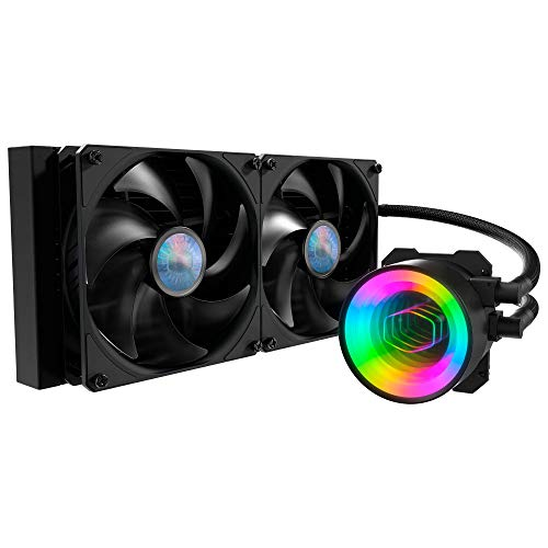 Cooler Master MasterLiquid ML280 Mirror ARGB Close-Loop AIO CPU Liquid Cooler, Mirror ARGB Pump, 280 Radiator, Dual SickleFlow 140mm, 3rd Gen Dual Chamber Pump for AMD Ryzen/Intel LGA1200/1151