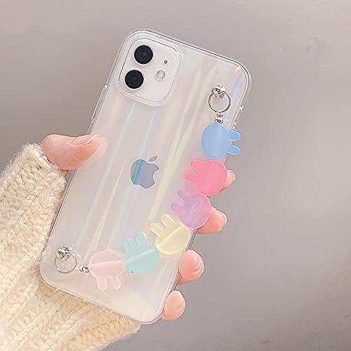 LIUYAWEI Estuche Transparente para teléfono con Cadena de Pulsera de Amor Mate 3D para iPhone 12 Pro MAX Mini 11 XR X XS 7 8 Plus 6S SE 2 Carcasa, Caramelo de Conejo, para iPhone 6 6S Plus