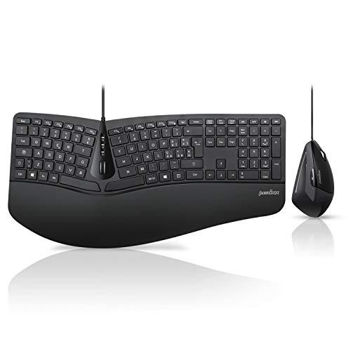 Perixx Periduo-505 - Juego de teclado ergonómico con ratón vertical, diseño 3D con teclas divididas y rueda de desplazamiento inclinable, reposamuñecas ajustable y perfil bajo, diseño italiano