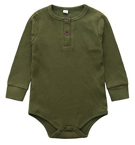 Jurebecia Ropa de una Pieza Bebé Niños Niñas Monos Manga Larga Mameluco Mono Body Algodón Trajes 12-18 Meses Verde