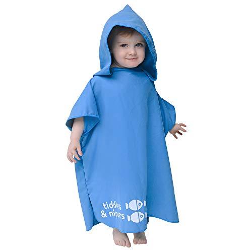 Tiddlers & Nipplers Accapatoio Poncho Bambini in Microfibra da Bagno, Asciugamano con Cappuccio Bambino e Bambina per Piscina e Spiaggia (Blu, 2-5 Anni)