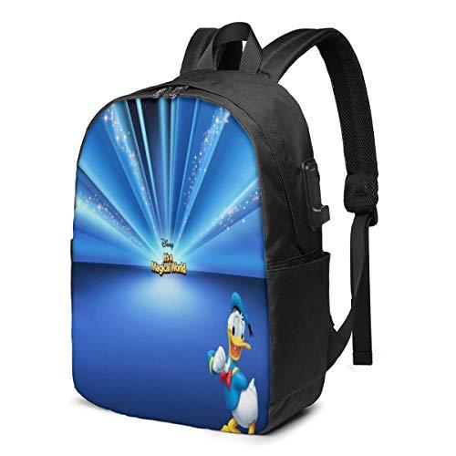 Caelpley Zaino per Il Tempo Libero per Ragazze e Ragazzi, Grande Zaino per Laptop, Zaino da Viaggio Impermeabile per Uomini e Donne, Disney Paperino Glitter Radiale Blu