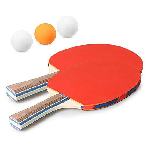 Zonggan Tabla raqueta de tenis, raquetas de ping-pong espinillas en Mango Largo Corto paleta de ping pong raqueta con el bolso de 3 bolas for adultos de los niños Indoor actividades al aire libre
