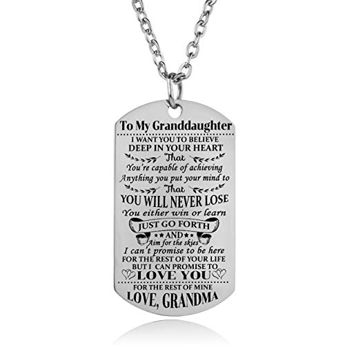 Granddaughter Necklace Love Granddaughter Dog Tag Believe Inspirational Gifts From Grandma Grandmother To Granddaughter Birthday Graduation Gifts