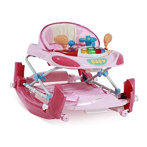 Andador y mecedora Bertoni W1224CE 3 en 1 regulable en altura, música, luz, color:rosa