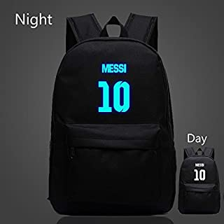 HYLong Barcelona Messi #10 Noctilucent School Sports Black Bag Backpack for Teenagers (Color: