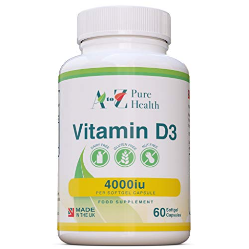 Premium Vitamin D Capsules |High Strength Vitamin D3 4000iu | 60 Easy to Swallow Softgel Capsules |One a Day, 2 Month Supply |Supports Healthy Bones, Teeth, Muscle and Immune System| UK Made |