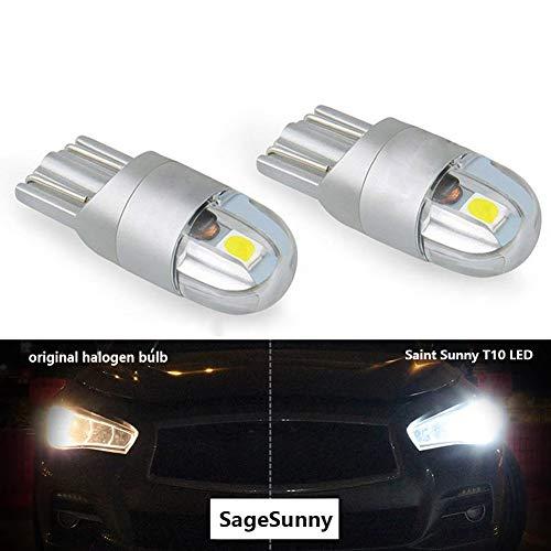 SageSunny t10 w5w led feu de position Veilleuses 12v 6000K blanc 168 194 led clignotant pour ampoule plaque Feux de Gabarit voiture moto -une garantie d'un an