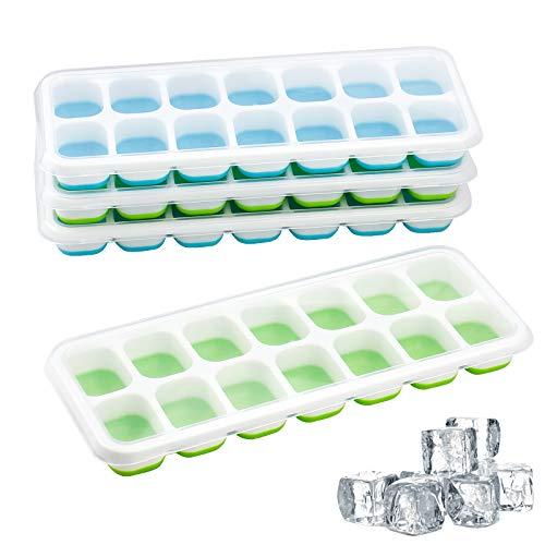 XIAOXIAO 4 bandejas para cubitos de hielo, moldes sin BPA con tapas apilables que no se derraman, base flexible para fácil liberación de cubitos de hielo, apto para lavavajillas, azul y verde