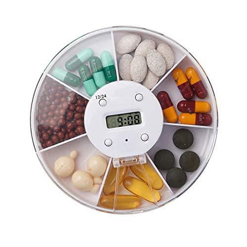 QHGao Automatischer Elektronischer Tablettenspender Mit Alarmanzeige, Zeitschaltuhr Für Wecker Mit 7 Fächern, Aufbewahrungsbox Für Pillen, Tragbare Reise-Pillendose (Weiß)