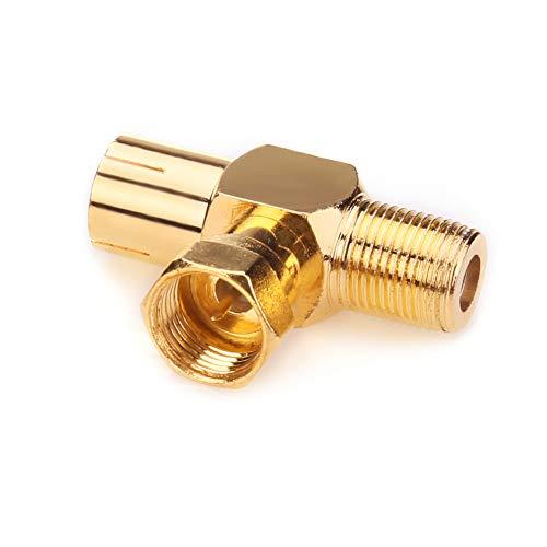 Connecteurs d'antenne coaxiaux NANYI femelle vers mâle TV Coupleur de câble de télévision coaxial pour antenne, connecteur de type T / F plaqué or à angle droit - adaptateur pour antenne coaxiale RF