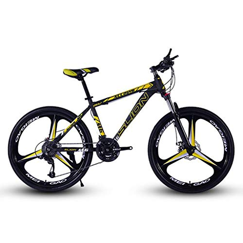 26inch Mountain Bike,Steel Hardtail Mountain Bicycles,Dual Disc Brake and Front Suspension,Mag Wheel (Color : Black+Yellow, Size : 21 Speed)