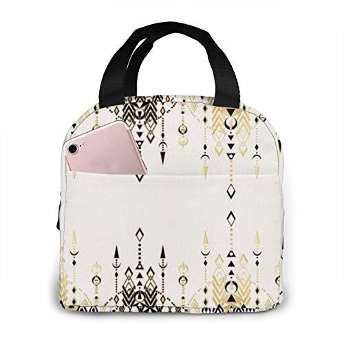 Moderno Deco Negro y Crema Bolsa de almuerzo horizontal Fiambrera para niños y niñas, bolsa de viaje aislada