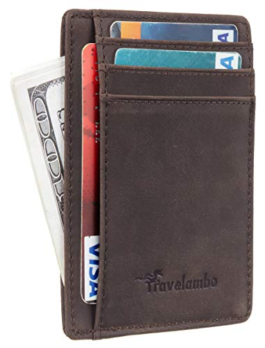 Travelambo Front Pocket Minimalist Leather Slim Wallet RFID Blocking Medium Size(02 crazy horse...