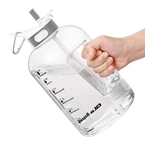 Wasserflasche, 2.5 Litre Trinkflasche mit Strohhalm und Griff BPA-Frei, Wasserflasche mit Zeitmarkierungen zur Erinnerung an die Trinkzeit, Ideal für Sport, Fahrrad, Yoga, Wandern und Camping