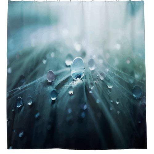 daoyiqi Schöner blaugrauer Duschvorhang mit Wasserspritzern oder Tropfen, für Badezimmer, Baddekoration, heller Stoff, Duschvorhang mit 12 Haken, mehrfarbig, 183 x 183 cm