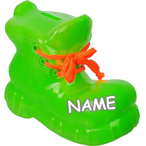 alles-meine.de GmbH große 3D Effekt _ XL - Spardose - Schuh / Wanderschuh - Apfel grün - inkl. Name - 18 cm groß - stabile Sparbüchse aus Kunststoff / Plastik - Sparschwein - Glü..