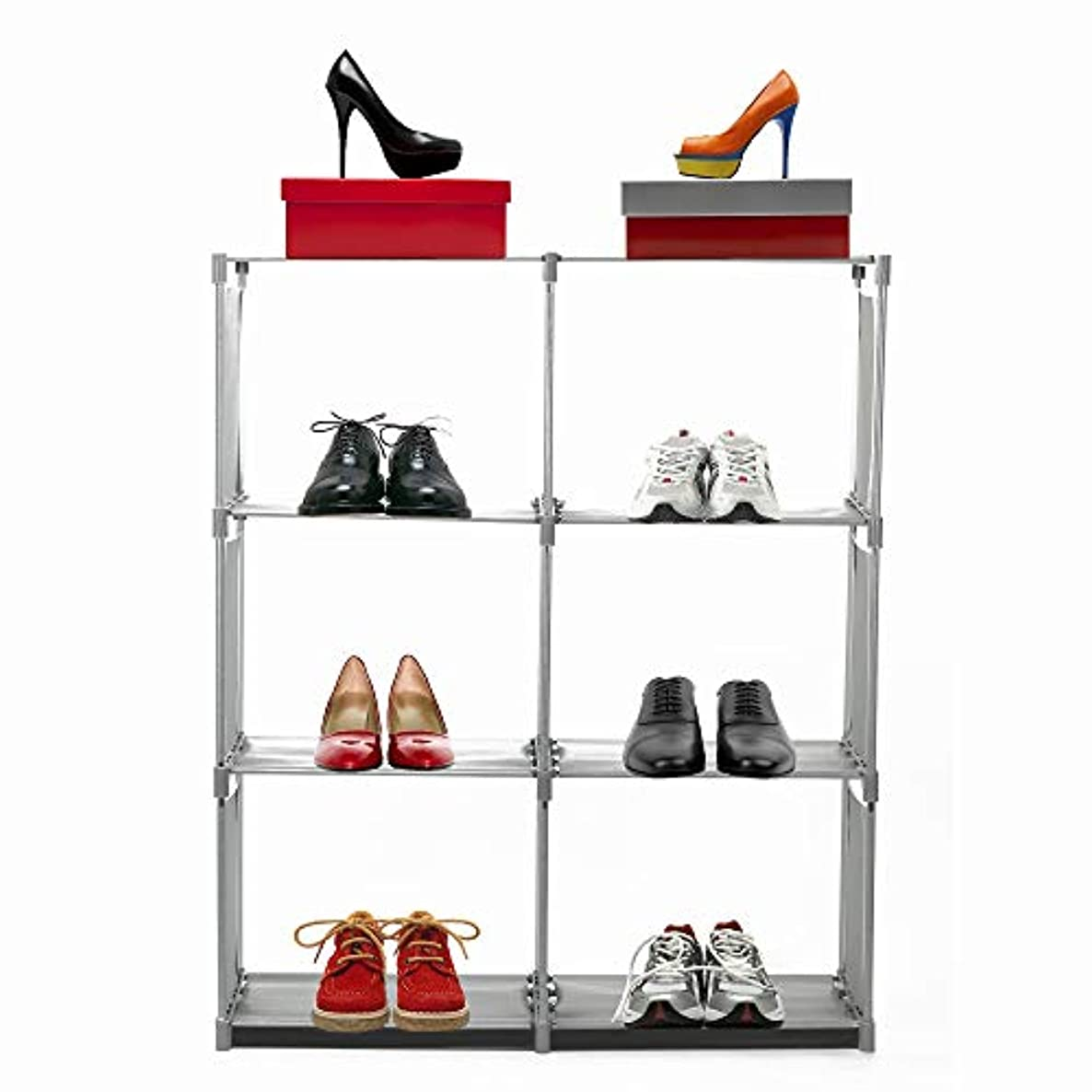 SONGNO 4-Tier Shelving Unit, 6-Cube Modular Space Saving Shoe Tower Closet Cabinet Storage Organizer Units for Entryway Bedroom Living Room and Corridor Grey