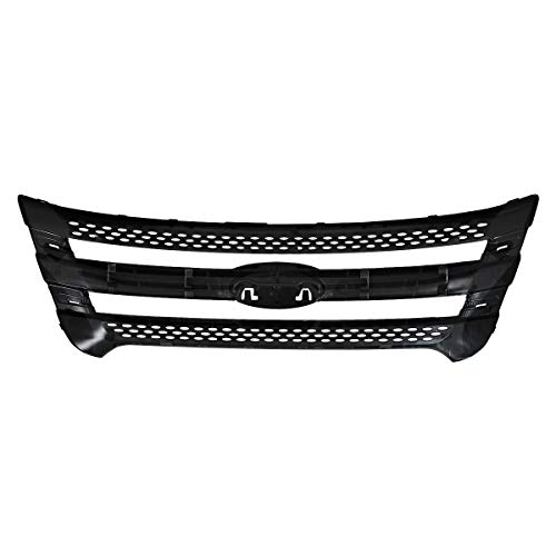 AutoModed Front Upper Bumper Grill Grille Snap On Trim Overlay Compatible with 2011 2015 Ford Explorer   Matte Black ABS   by AutoModed