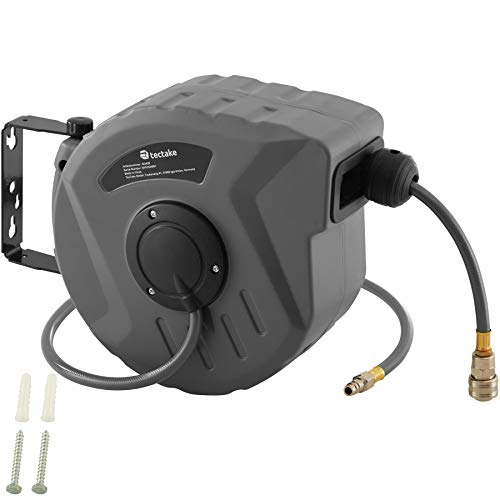 tectake 800801 Carrete automático con manguera de aire comprimido, Manguera neumática con...