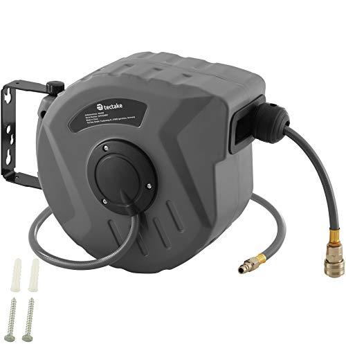 tectake 800801 Carrete automático con manguera de aire comprimido, Manguera neumática con carrete retráctil, Enrollador automático de cable y tubos (10 m)