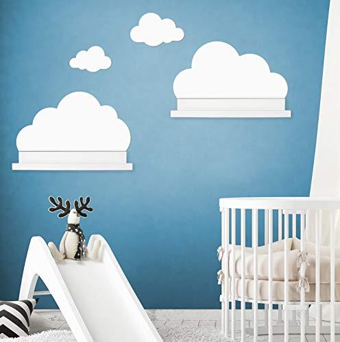Wandtattoo Wolken in weiß für IKEA Regalbrett Ribba/Mosslanda 55 cm Bilderleiste für Babyzimmer Kinderzimmer – Aufkleber für Wand und Tapete