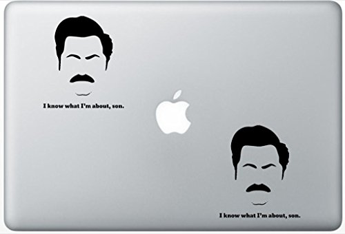 Ron Swanson I Know What Im About Son FlashDecals1843 Set Of Two (2x) , Decal , Sticker , Laptop , Ipad , Car , Truck
