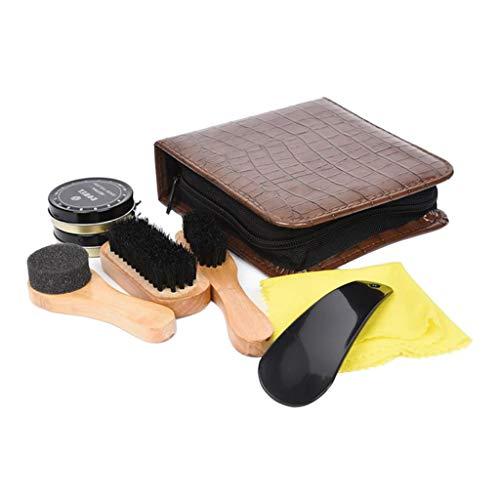 Harilla Cuidado del Calzado Negro Juego de Cepillos de Pulido Neutro Kit de Limpieza de Brillo de Zapatos para Botas Zapatillas