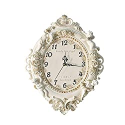 LQW HOME European Living Room Creative Resin Art Wall Clock Mute Bedroom Clock Large Wall Clock Angel Quartz Watch Durable (Color : Beige, Size : 16 inches)