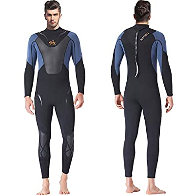 NATYFLY Mens Wetsuit 3mm Neoprene Jumpsuit, Youth Women Full Body Diving Suits for Scuba Surfing Swimming Long Sleeve Back Zip for Water Sports