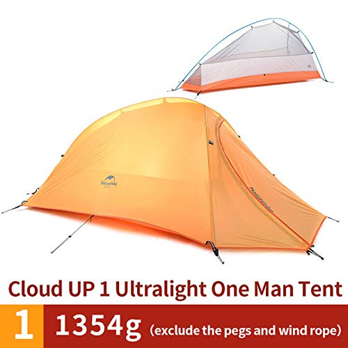 Mdsfe Naturehike Cloud Up Series 1 2 3 Person Tent OutdoorUltralight Camp Tent with Mat Camping 20D Silicone Travel-UP1 210T Orange,A4