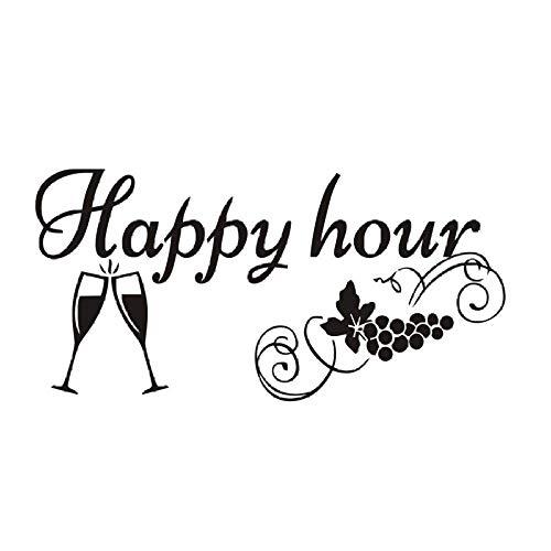 Etiqueta de la pizarra de la cocina Happy Hour Uva Copas de vino Decoración Pizarra Extraíble Impermeable Vinilo Etiqueta de la pared 115X57Cm