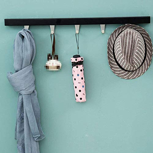 Black 5 Hook Wooden Coat And Hat Rack Wall Hanging Simple Modern Stainless Steel Clothes Hooks Entrance Bedroom