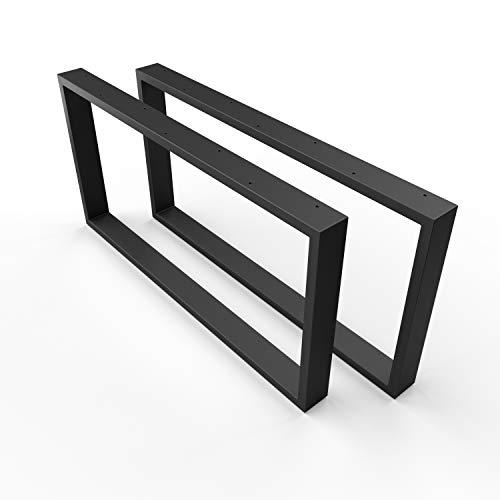 SOSSAI Design Couchtisch Untergestell | Farbe: Schwarz | Stahl Tischgestell CKK1 - pulverbeschichtet | 2 Stück (Paar) | Breite 50 cm x Höhe 40 cm