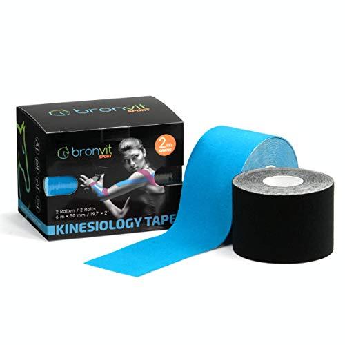 BronVit Kinesio Tape 6m (2 Rollen) | Therapeutisches Physio Tape, Wasserfest, Elastisch, Hypoallergen | Sport Klebeband und Muskel Bandage | Fitness Zubehör, Pflaster Set 2 x 6m x 5cm (Blau + Schwarz)