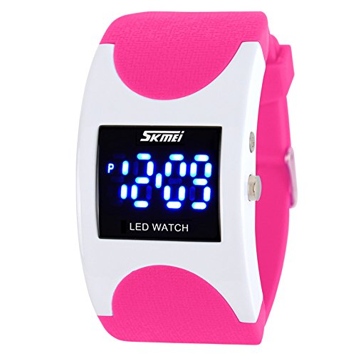 Unique Rectangle Digital Waterproof Sports Watch for Men and Women - White